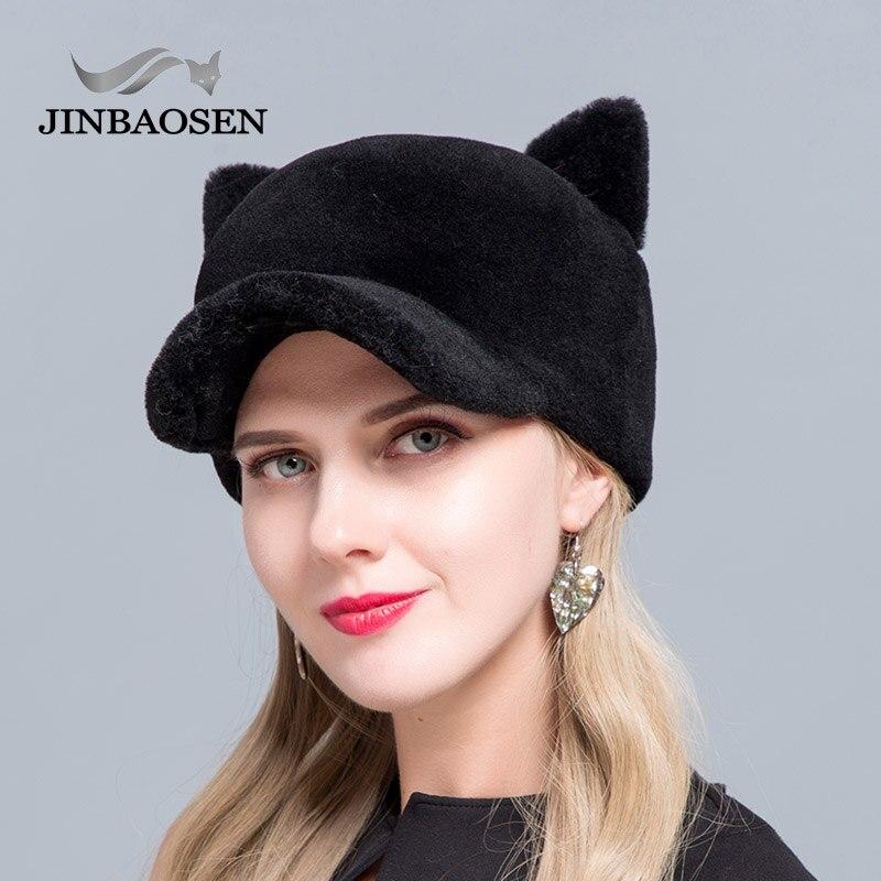 JINBAOSEN 2019 New Fashion Baseball Cap Sheepskin Hat Fashion Fur Hat Cat Ears Style Cap Duck Tongue Winter Ski Cap