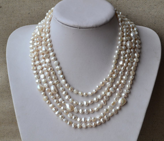Charming Real Pearl Jewelry,100inches Long Pearl Necklace 6-12mm White Color Freshwater Pearl Necklace,Perfect Lady's Jewelry