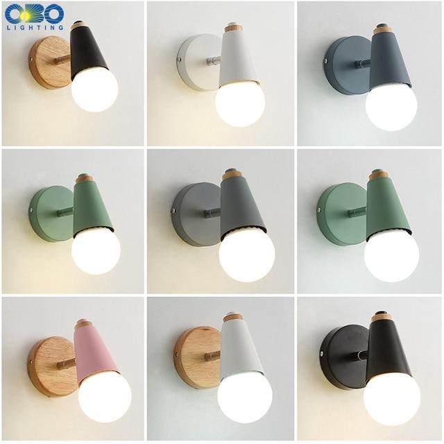 Modern Macaron Wall Lamp Iron Wood Mirror Light Bedside Bedroom Indoor Lighting E27 Light Bulb Retro  LED Wall Light Nordic 1