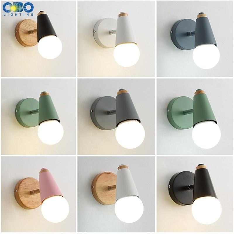 Applique Murale Moderne Macaron Fer Bois Miroir Lumière Chevet Chambre éclairage Intérieur E27 Ampoule Rétro Mur Led Lumière Nordique
