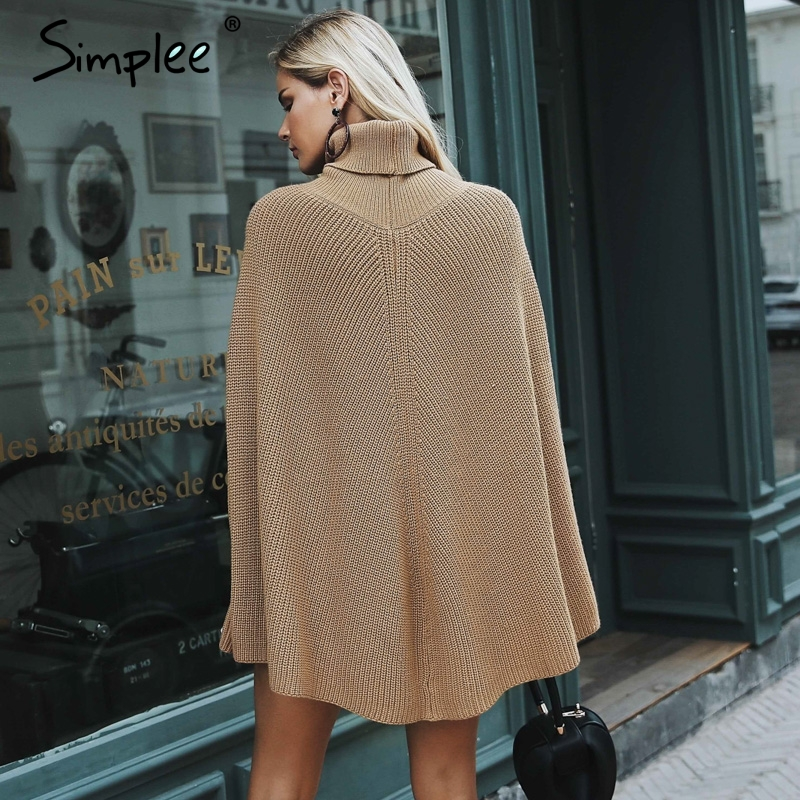 Knitted turtleneck cloak sweater 3