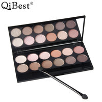 Qibest Charm 12 Colors Eyeshadow Pallete Earth Color Bare Makeup Eye Shadow Pan Smoke Suit Combination