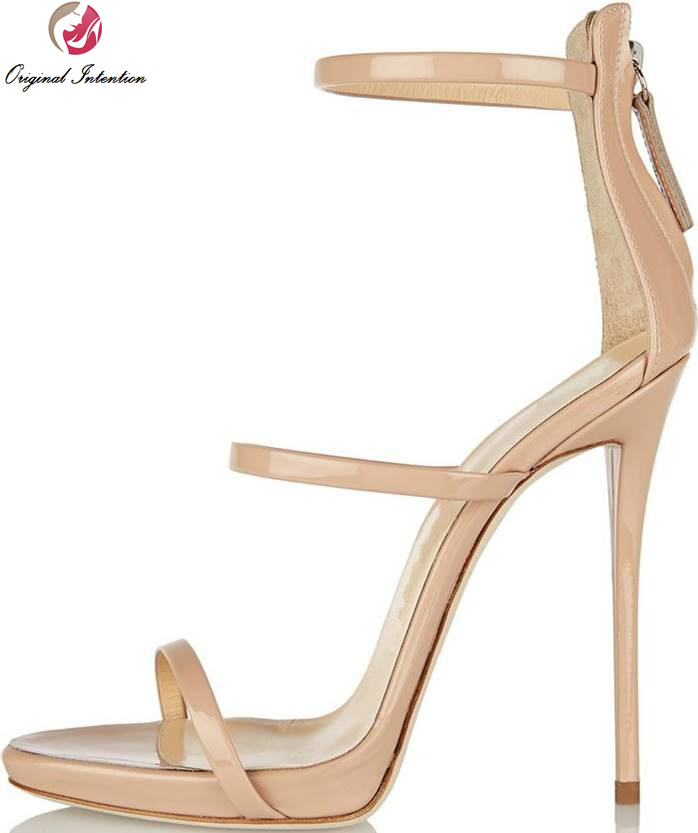 ФОТО Original Intention Popular Women Sandals Peep Toe Thin Heels Sandals High-quality Nude Shoes Woman Patent Leather Plus Size 4-15