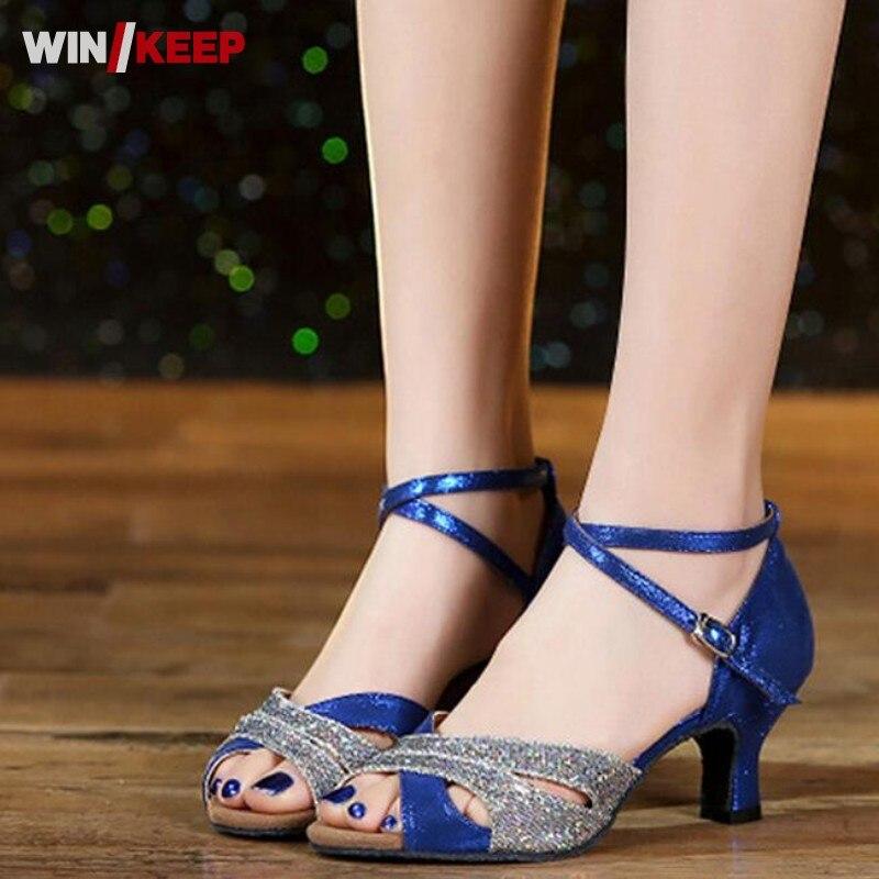 Sneakers Blue Glitter With Black Straps Newest Salsa Latin Ballroom Salsa Tango Bachata Mambo Dance Shoes Ballroom Dancing Shoes Ds998