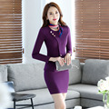 Fashion Elegant New Arrival Autumn Winter Long Sleeve Career Work Suits With Jackets And Skirt Formal Beauty Salon Skirt Suits