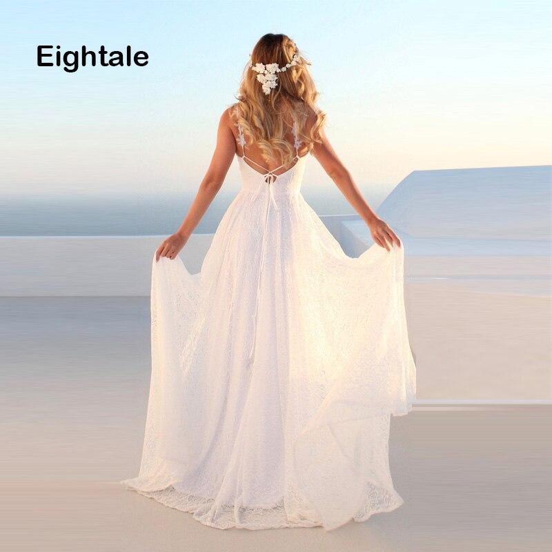 Eightale Beach Wedding Dress 2019 V Neck Backless Lace A Line Spaghetti Strap Boho Bride Dress Cheap Wedding Gown Free Shipping