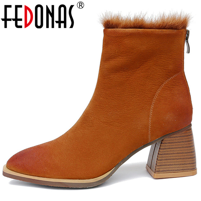 FEDONAS Fashion Brand Women Cow Suede Ankle Boots Thick High Heels Warm Winter Snow Boots Ladies Short Basic Motorcycle Boots FEDONAS Fashion Brand Women Cow Suede Ankle Boots Thick High Heels Warm Winter Snow Boots Ladies Short Basic Motorcycle Boots