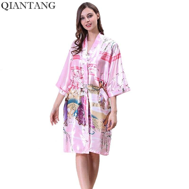 Pink Womens Robe Kimono Bath Gown Yukata Nightgown Lady Faux Silk Sleepwear Sleepshirts Pijama Mujer Size S M L XL Y8848