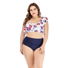Women Floral Ruffle Swimsuit Large Sizes Swimwear High Waisted Off Shoulder Bikini Ruffled Tankini Set Women Plus Size Bikini plus size print ruffle bikini set