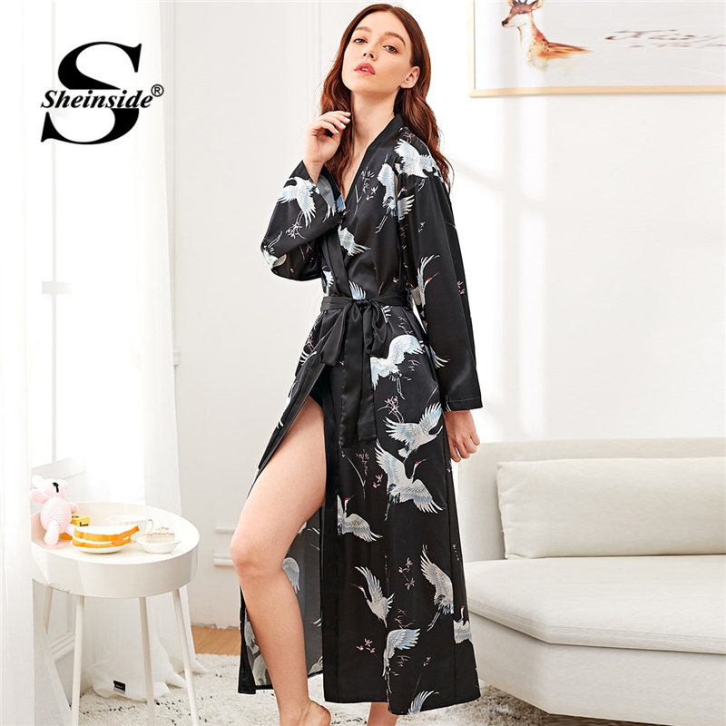 Sheinside Crane Print Satin Long Robe Women Nightdress V Neck Ladies Sleepwear Nightgowns Womens Sleep & Lounge Black Bathrobe