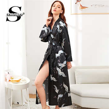 Sheinside Crane Print Satin Long Robe Women Nightdress V Neck Ladies Sleepwear Nightgowns Womens Sleep & Lounge Black Bathrobe - DISCOUNT ITEM  40% OFF All Category