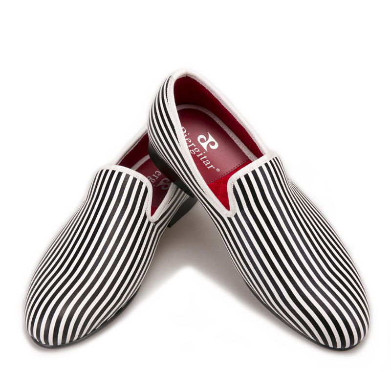 Men Loafers Flats-Verano Smoking-Slippers Printing White Men's And Black Striped Oversize