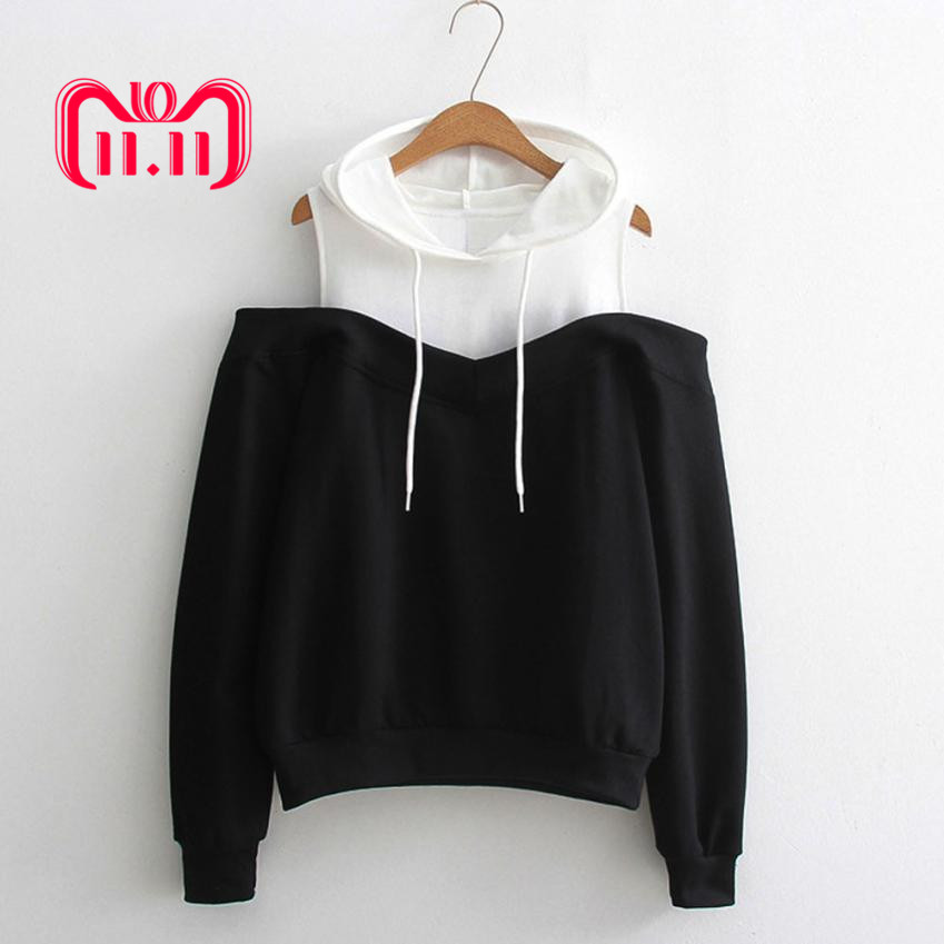 Feitong Womens Patchwork Sweatshirts Hoodie Sexy Cold Shoulder Long Sleeve Sweatshirt Hooded Pullover Tops Jumper Sudadera Mujer