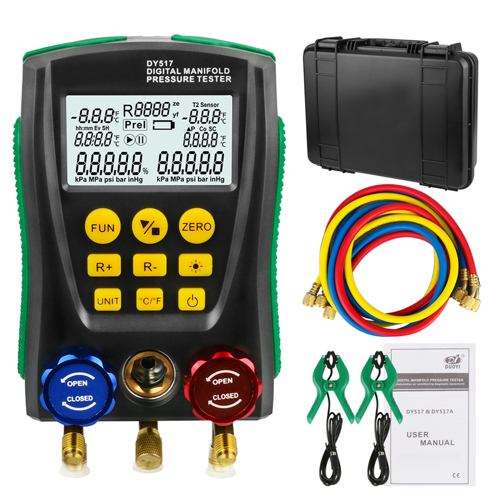 Refrigeration Digital Manifold Gauge Meter HVAC Vacuum Pressure Temperature Tester Kit with Test Clip and Pipe DHL Free Shipping testo 550 1 refrigeration manifold kit 0563 5505 with 1 clamp probe surface temperature measurement