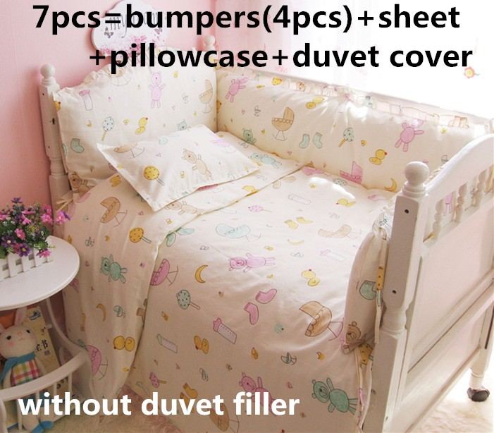 Remise! 6/7 pièces bébé lit ensemble de literie 100% coton enfants linge de lit nouveau-né bébé pare-chocs, 120*60/120*70 cm