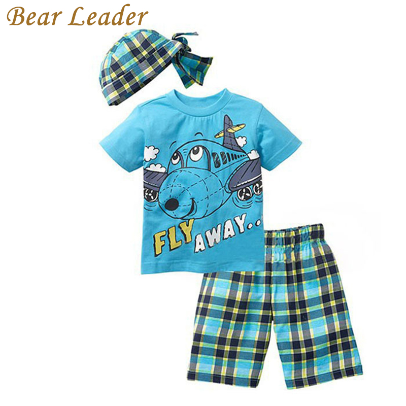 Bear Leader Active boys sets boy shorts Cartoon suits summer short sleeve T-shirt + plaid pants + hat 3 pieces clothing set