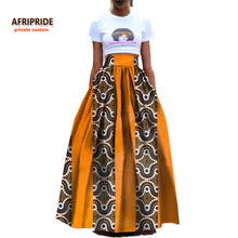 2017women clothes AFRIPRIDE private custom high waist skirt pleated ankle length formal cotton skirt for women ball grownA722703