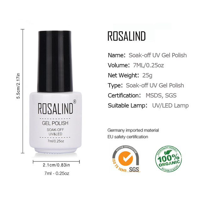 ROSALIND Gel 1 s 7 ml Gel vernis à ongles Violet Couleurs Soak Off UV LED Glitter Nail Art Semi Permanent gel laque amorce pour ongles 5