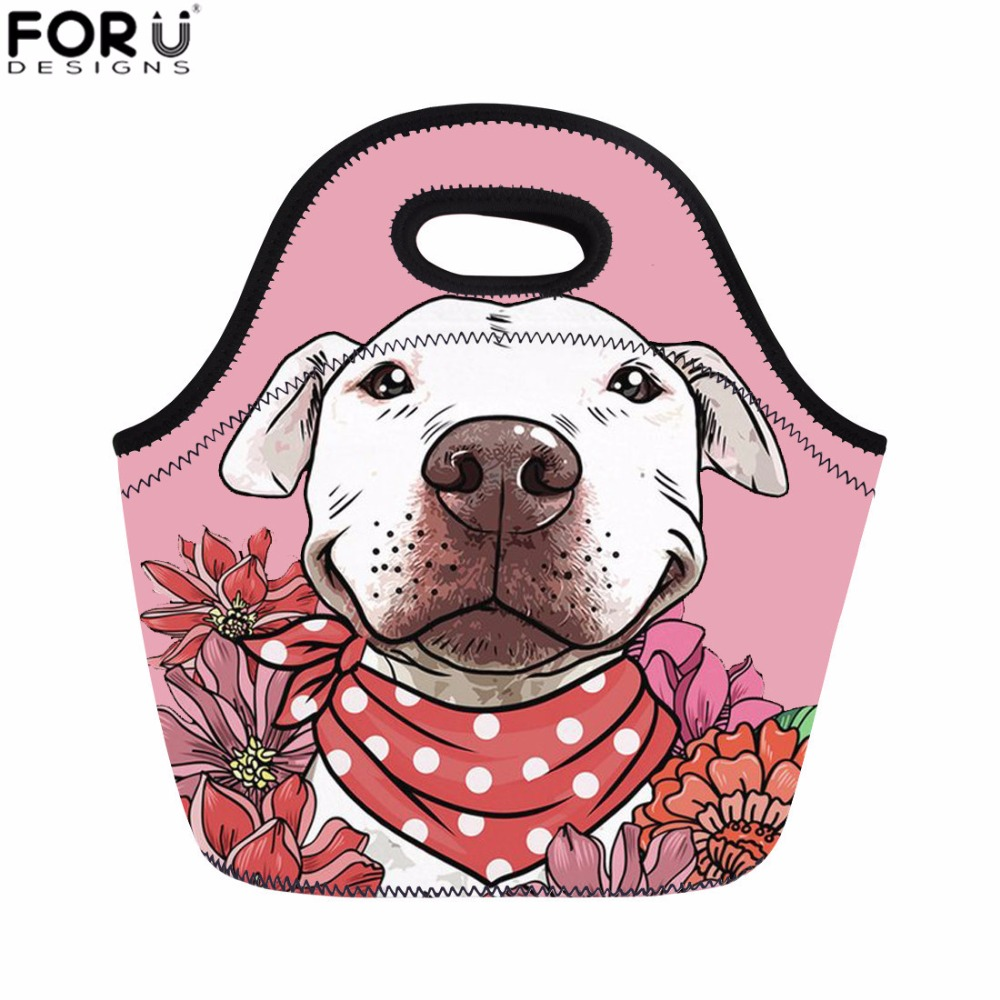 FORUDESIGNS Women Lunch Bag Bull Terrier Print Picnic Bag Kids Girls Thermal Food Bag Student Meals Sacola Fashion Snack Bolsa