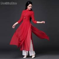 2019 summer sleeve vietnam aodai floral chinese traditional clothing woman ladies qipao mandarin collar chinese