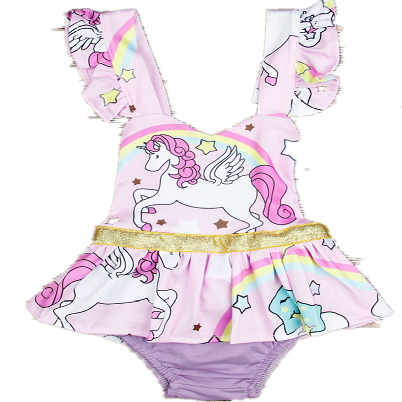 Baby Clothes Summer Europe and America Girl Ssleeveless Unicorn Fashion Cute Children Bodysuits Cartoon Purple Kids Print  Sets