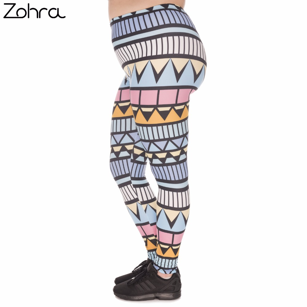 Zohra Stretch Large Size Women   Leggings   Aztec Niebieski Printing High Waist Plus Size Trousers Pants For Plump Women