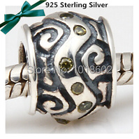 925 Sterling Silver Pendant Water Rhinestone Charm Fashion Accessories Bead Fit Bracelet Necklace 1pc Lot VK073