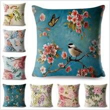 Funda de almohada de lino y algodón con flores Vintage, funda de cojín para sofá o coche, decoración para el hogar, pintura azul, flor, pájaro, cereza decorativa