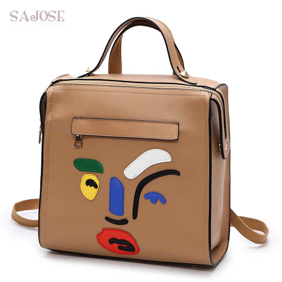 Рюкзаки для девочек-подростков; женский кожаный рюкзак; школьная сумка с изображением героев мультфильмов; Студенческая сумка цвета хаки; модная сумка на плечо в стиле ретро; SAJISE