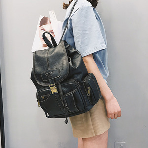 Image 2 - 빈티지 여성 배낭 십 대 소녀에 대 한 고품질 가죽 학교 가방 큰 Drawstring 배낭 블랙 브라운 배낭 XA50H