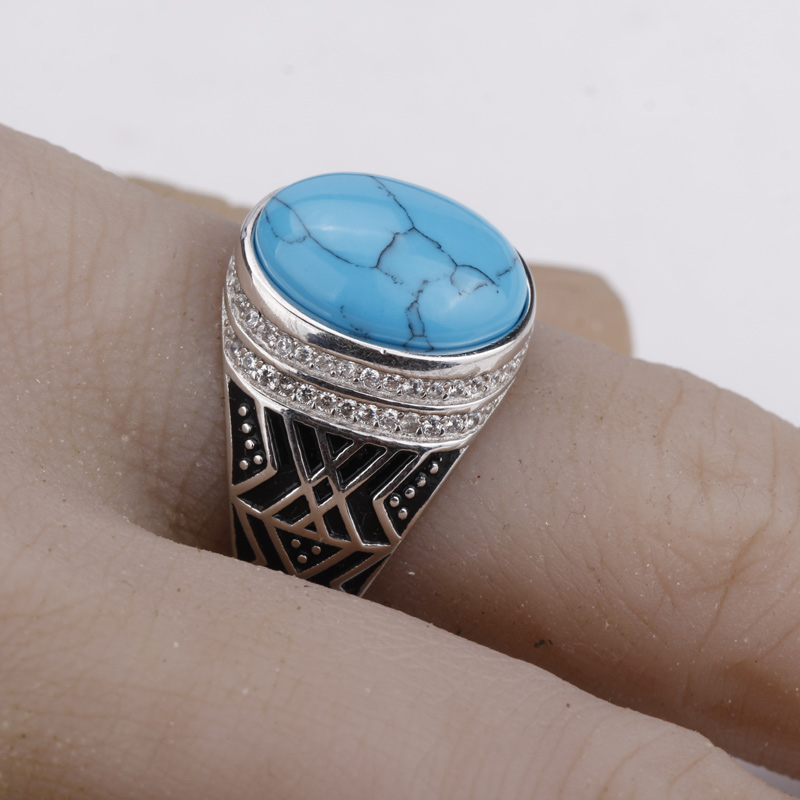 925 Sterling Silver Men Ring Vintage Blue Color Crack Big Stone with Clear CZ Men Fashion Jewelry925 Sterling Silver Men Ring Vintage Blue Color Crack Big Stone with Clear CZ Men Fashion Jewelry