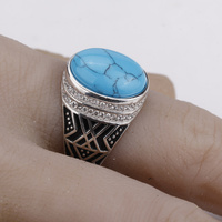 925 Sterling Silver Men Ring Vintage Blue Color Crack Big Stone with Clear CZ Men Fashion Jewelry