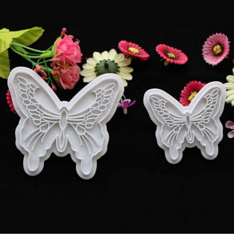 Plastic Butterfly Shape Cake Fondant Mold And Cookie Plunger Cutter Tools 6