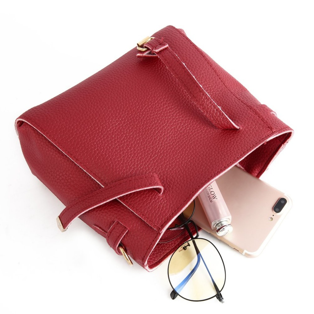 f52ee4930e 4pcs set Fashion Leather Women Composite Shoulder Bags Handbag Crossbody  Sling Bags Clutch Bag Female Messenger Bag Bolso Mujer -in Shoulder Bags  from ...