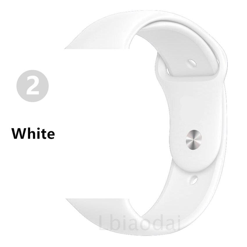 Ремешок для Apple Watch 38 мм 42 мм iWatch 4 ремешка 44 мм 40 мм спортивный силиконовый ремень браслет Apple watch 5 4 3 2 Аксессуары для ремешка - Цвет ремешка: White