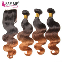 Ombre Brazilian Body Wave Human Hair Bundles With Lace Closure 1B 4 30 Blonde Remy Human