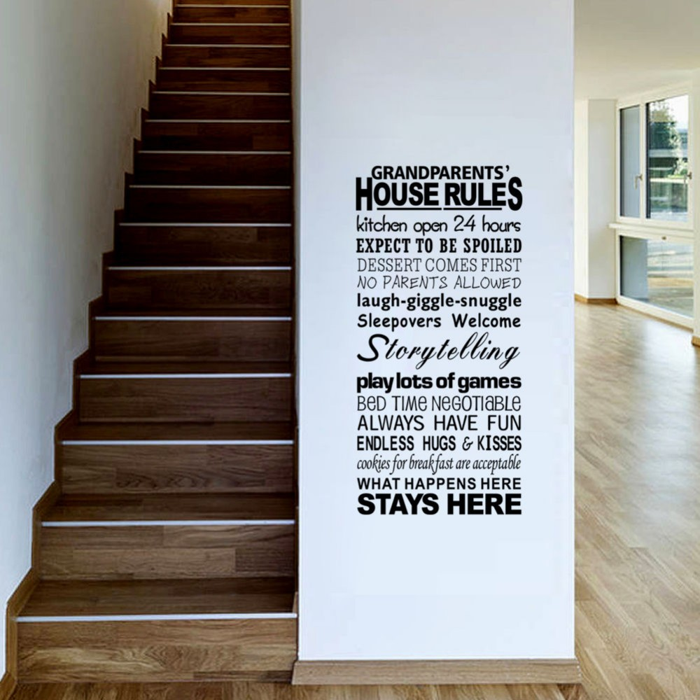 2018 Limited Sale Removable Grandparents House Rules Wall Stickers ...