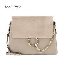 LACATTURA Bags For Women 2018 Luxury Handbags Paris Brand Designer Ring Flap Genuine Leather Fashion Lady Suede Shoulder Bag Hot