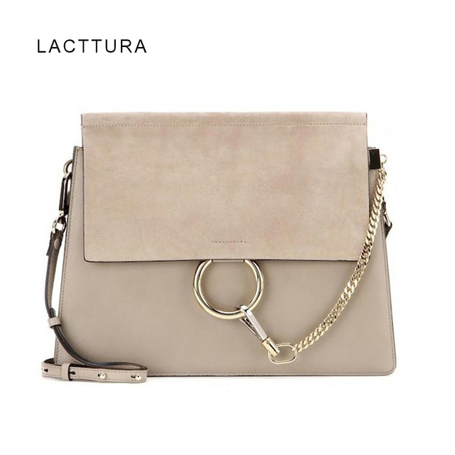 LACATTURA Bags For Women 2018 Luxury Handbags Paris Brand Designer Ring Flap Genuine Leather Fashion Lady Suede Shoulder Bag Hot