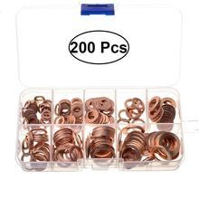 200pcs Copper Sealing Washer Gasket Oil Drain Plug Gasket Assortment Set