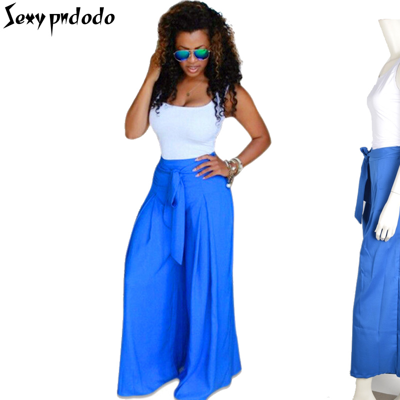 Sleeveless 2 Piece Sets Women White Tank Tops+Blue Loose Wide Pant Set Bow Belt Summer Fashion Flare Long Wide Pants Set Werano