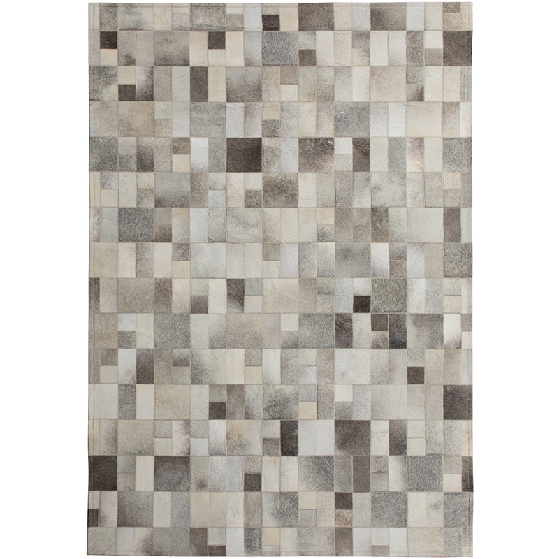 Natural Cow Leather Fur Rug Handmade Patchwork Real Hair