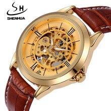 SHENHUA Men Watches Top Brand Luxury Gold Auotmatic Self-wind Mechanical Wrist Watches For Men Skeleton Watches Waterproof