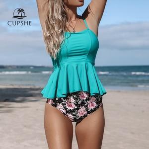 CUPSHE Blue And Floral Ruffle Tankini Bikini Sets Women Peplum High Waist Two Pieces Swimsuits 2020 Girl Beach Bathing Suits