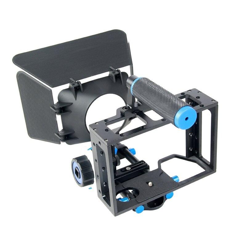 Caméscope DSLR Rig film épaule montage vidéo stabilisateur caméra Cage & suivre focus & Gear Ring ceinture & Matte box