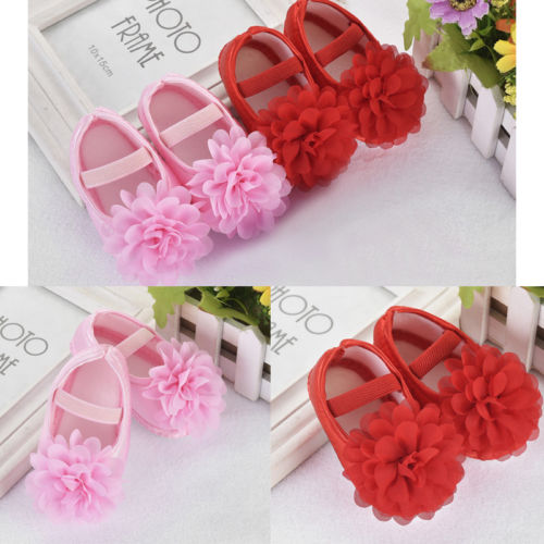 Hot Sale  Newest Infants Baby Shoes Girls Princess Crib Shoes Soft Sole Anti-slip Prewalker Floral Shoes 0-18M