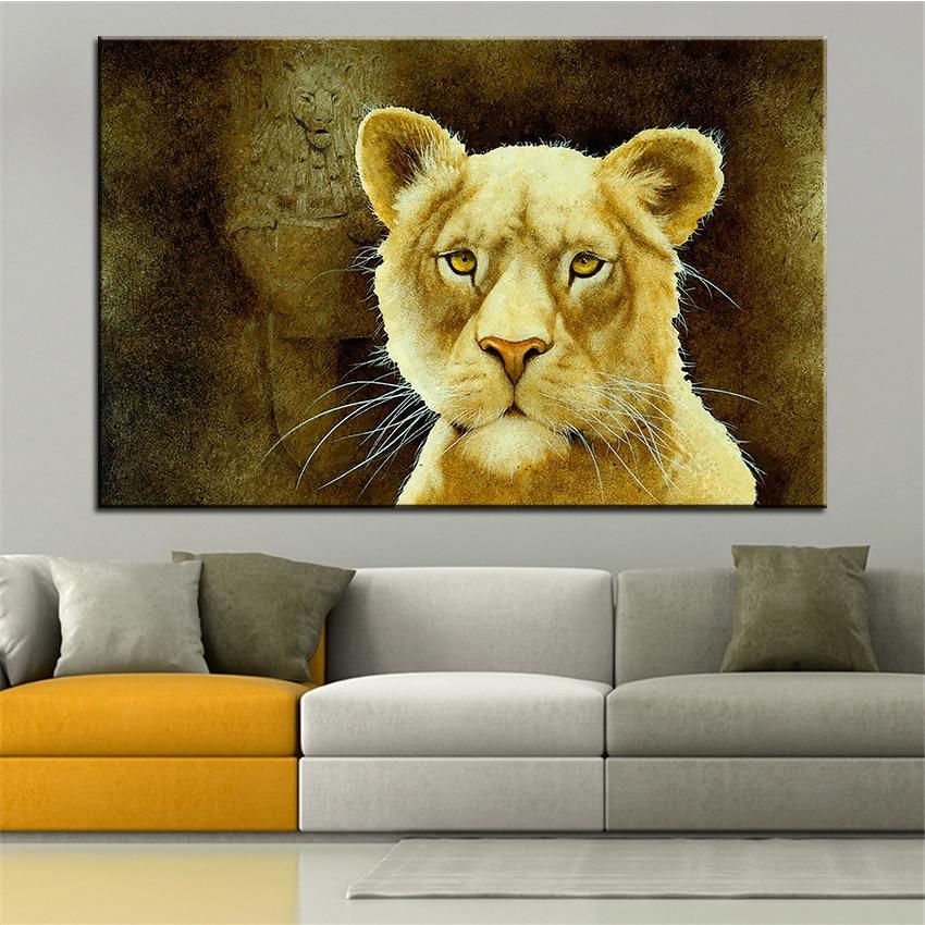 Grande Taille Impression Peinture Huile La Pierre Lion Mur