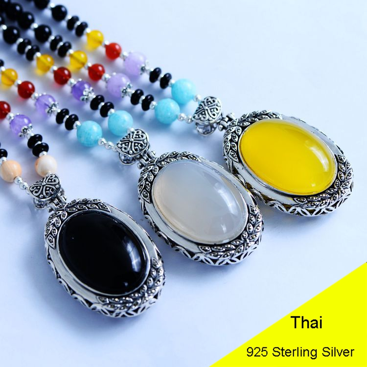 Fashion 925 Sterling Silver Women Pendant Necklace Chalcedony & Agate Rope Chain Thai Silver Choker Jewelry CH057301 925 silver green yellow chalcedony agate pendant buckle female sweater chain large round jade pendant