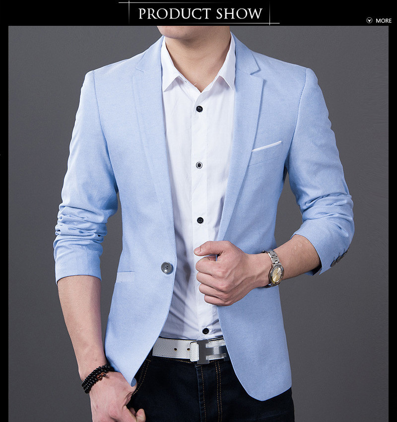 Online Shop Mens Light Blue Suits Blazer Men 2016 One Button Cheap ...