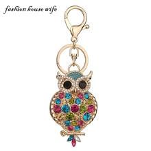 Fashion House Wife New Colorful Rhinestone Owl Keychain Fashion Women Key Chains Keyring Car Key Holder Jewelry Gifts LK0082